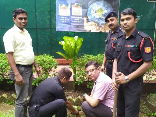 Traditional planting of sapling in jute planter was caried out by Lt Col RS Gaur on behalf of Bengal Sub Area along with Shri D Mukherjee, Asst Director (MP&SI),NJB
