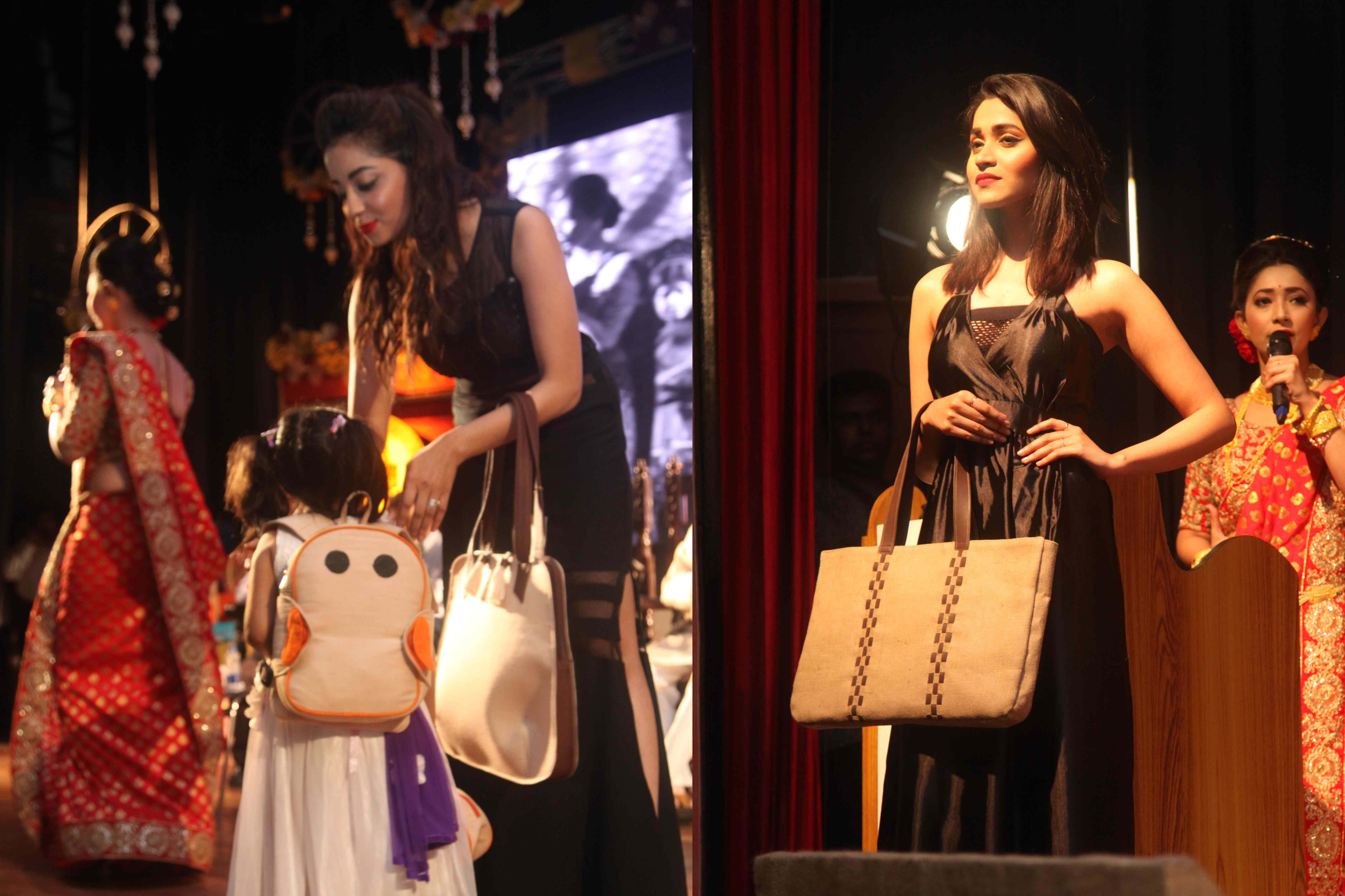 Models showcasing jute fashion/utility bags, newly designed by NID, Gandhinagar in Collaboration with NJB and Jute Industry